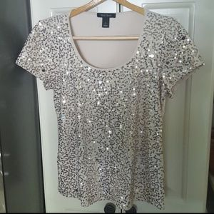 WHBM Sequined Short Sleeve Dressy T-Shirt Top